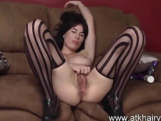 Hairy Olive fucks a plaything