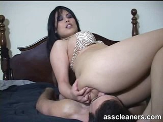 Palatable babe with large ass sits on his face