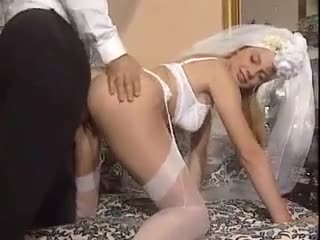 Groom copulates his bride in the white lingerie