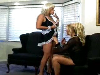 Sexy mamma looking for some cigarettes calls on touching her very hot looking maid. After a not many minutes of puffing, they find out that it's much better to puff while inserting some dildos into at all times other.