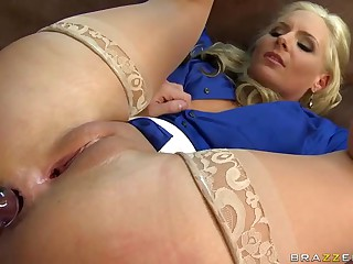 Big racked blond teacher Phoenix Marie in sheer nylons does it with her student James Deen. Smooth pussy blond Phoenix Marie lifts her legs up to get her asshole toyed and licked previous to taking a dick.