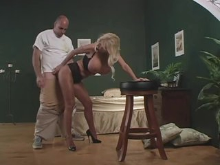 She wears hose and teases him well