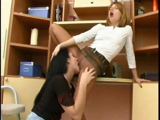 Lesbian lovers in pantyhose take around with an obstacle tongue pussy