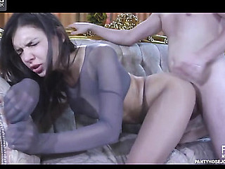 Perverted chick uses pantyhose encasement and crotchless pantyhose for a fetish fuck