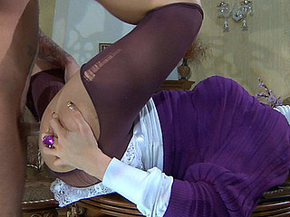 Upskirt maid receives her purplish stockings torn to shreds for a stomach ride