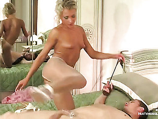 Slutty bride getting jackhammered throughout her expensive crotchless hose