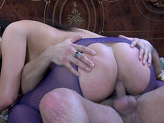 Round a-hole hussy gives head and gets a-hole fucked thru crotchless hose