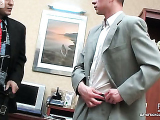 Perverted co-worker and his gay boss having dong-break after stiff working day