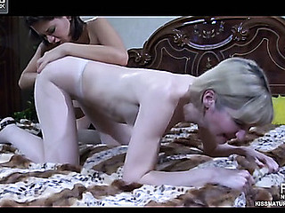 Ardently giving a kiss old and youthful lesbian babes go for tit-to-love button and clam-diving