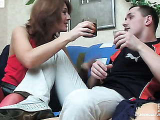 Awesome aged chick in crimson stockings almost getting off from wild fucking