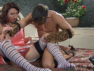 Frisky chick in striped nylons chooses role games with hardcore finale