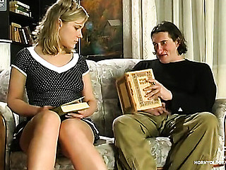 Lusty girlie putting aside her book seducing mature male into mighty dicking