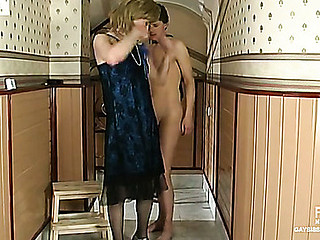 Sex-addicted sissy dude getting his eager fuckhole filled with consequential flesh
