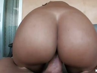Big booty ebony babe with pierced nipples gets her beaver rammed