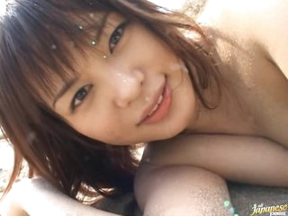 Cute Asian Babe Yuka Kurihara Acquires Nailed and Facialized Outdoors