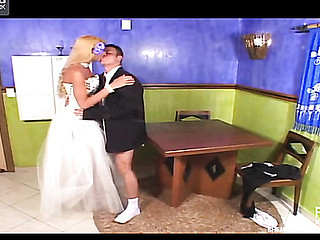 Red hawt shemale bride is about to give her perverted fiance a stiffy present