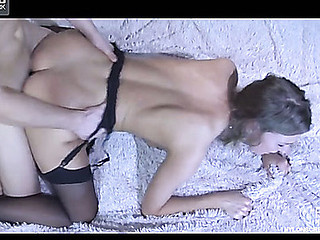 Topless playgirl in spruce black nylons acquires dicked hard after muff-diving