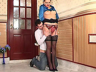 Office beauty in black lacy nylons getting attacked by a horny co-worker