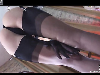 Beautiful come on to trifle admires say no to fine gloves and six-strap embellishment thong stockings