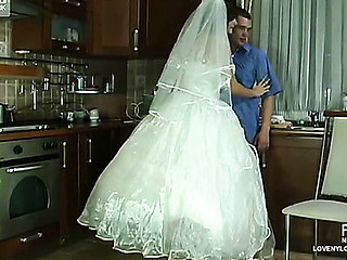 Voluptuous bride in glossy white nylons getting her beaver worked rigid