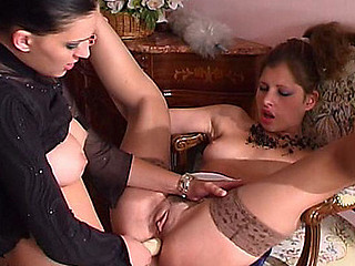 Lesbian French maid caught toying her insatiable banghole longing for more