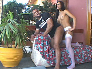 Mind Boggling body shemale is about to group sex desirous guy from the one and the other his ends on sofa