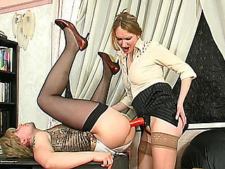 Sissy boy greeting strap-on armed flirt around his undeceptive arse right fro office