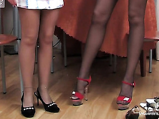 Extremely seductive angels tongue-polishing nyloned feet to the almost any outstanding advantage