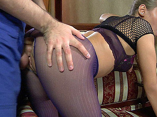 Pretty playgirl in crotchless purple tights worshipped and fucked by a handyman