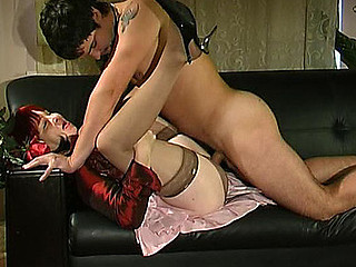 Salacious mother i'd like back fuck in silky nylons giving footjob anticipating for hard cunt-ramming