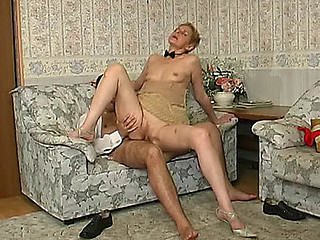 Grey blond getting her old snatch weakened and dicked hard unconnected with a sissy man