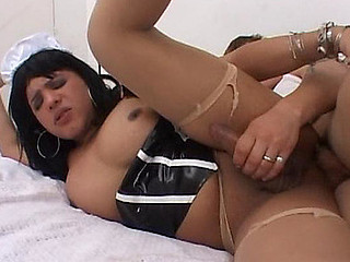 Desirous t-cutie in maid unvarying treating a cadger with her pecker and open honey-like hole