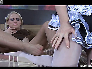Breasty maid licks pantyhosed feet of her lady and gets her cum-hole foot fisted