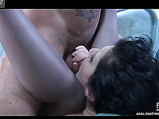 Sexy dark brown hair fingering her pantyhosed booty itching for a one-on-one fuck