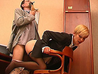Lewd co-worker sniffing overweening heel shoes whilst fucking hot sheila in nefarious tube