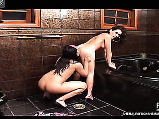 Lascivious sheladys getting down and immodest right on the floor in rest-room