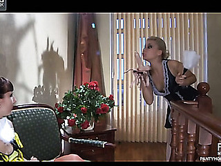 2 lesbo pantyhose clad maids take up with the tongue and put to use their large ding-dong schlong