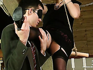 Vivacious chick in sheer nylons brings wild pleasure to blindfold guy
