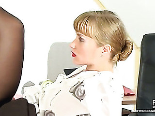 Lascivious secretary squeezing stud