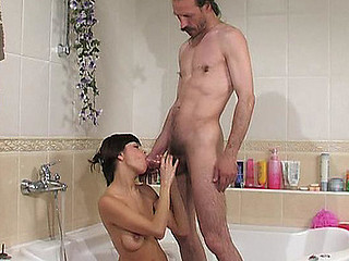 Desirous for fucking cutie makes older male take a shower with hardcore finale