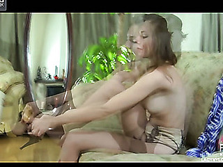 Sexy honey enjoys dramatize expunge look of her tan nylons and satin garter in dramatize expunge mirror