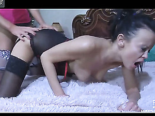 Dong-armed golden-haired in lush expensive nylons bonks a hawt lesbo dark brown