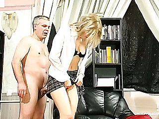 Pretty coed having a intimate fucking lesson with a concupiscent graying professor