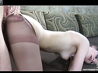Raunchy hotty in control top hose willing for fucking after a foot massage