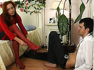 Salacious chick in red nylons surrenders to stunning anal assault