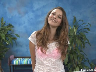 Allie H with beautiful smile disrobes for rubdown