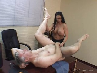 Breasty Latin babe Dominatrix Fucks a Resigned Male with a Strapon