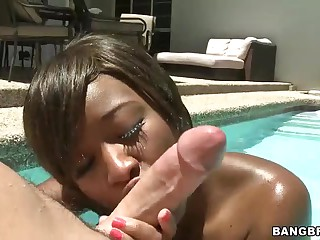 Young black girl Imani Rose with tight ass takes on white cock in the sun. She gives blowjob in the pool and then gets her brown aperture pounded. There nothing hotter than sex right in the sun!