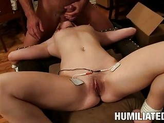 Slim pale babe gets tied and abused in rough sex