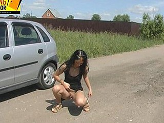 Valeria urinates on the road!